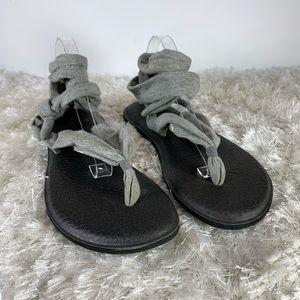 Sanuk Yoga Mat Sandals Grey Jersey Wrap Thong 9